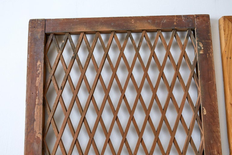 Pair of Chinese Geometric Lattice Window Panels In Distressed Condition For Sale In Oakland, CA