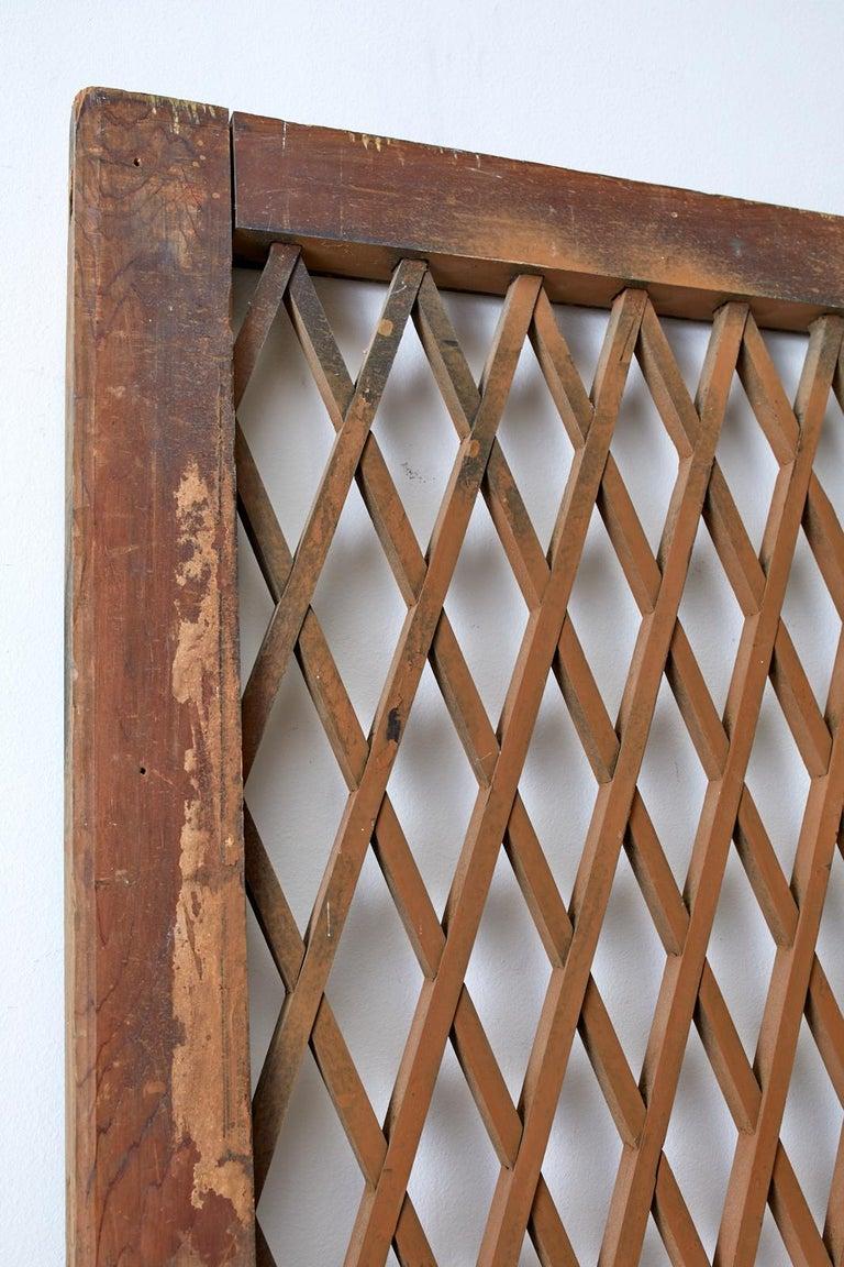 20th Century Pair of Chinese Geometric Lattice Window Panels For Sale