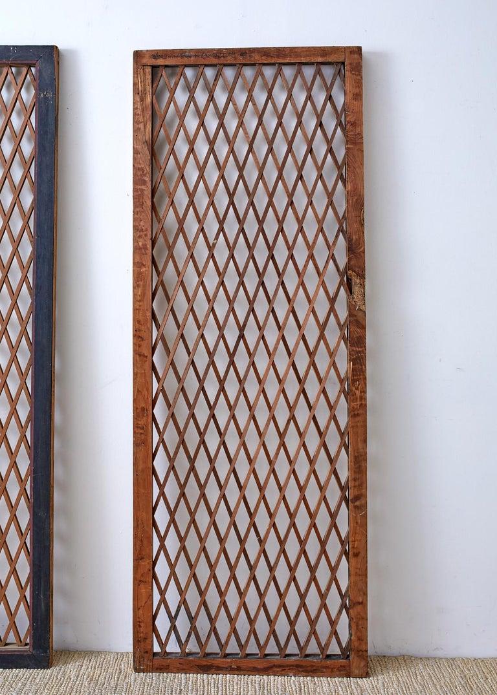 Pair of Chinese Geometric Lattice Window Panels For Sale 1