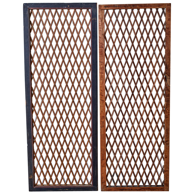 Pair of Chinese Geometric Lattice Window Panels