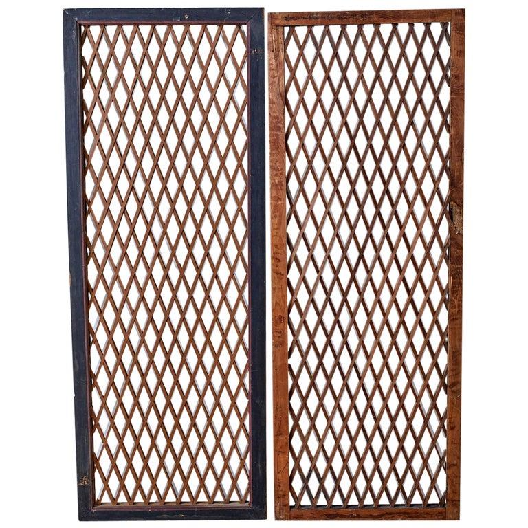 Pair of Chinese Geometric Lattice Window Panels For Sale