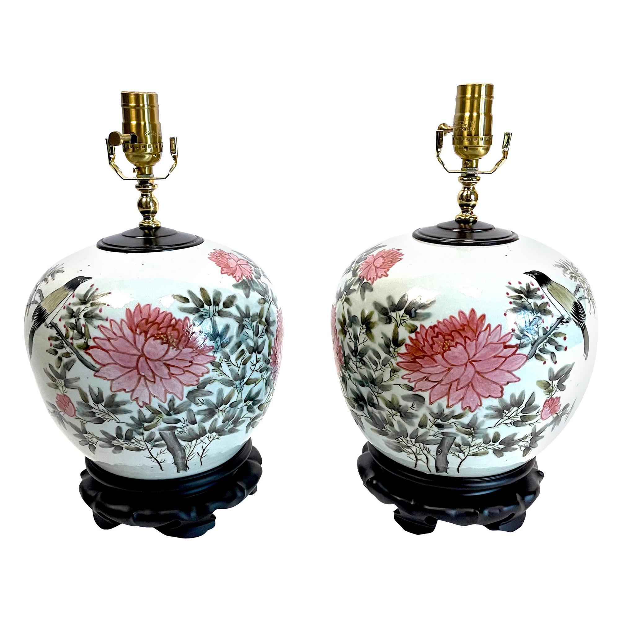 Pair of Chinese Ginger Jar Chrysanthemum Porcelain Lamps