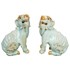 Pair of Chinese Glazed Bearded Dogs with Glass Inset Eyes