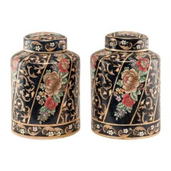 Pair of Chinese Glazed Terracotta Potiches, China 19th Century, Painted Vases