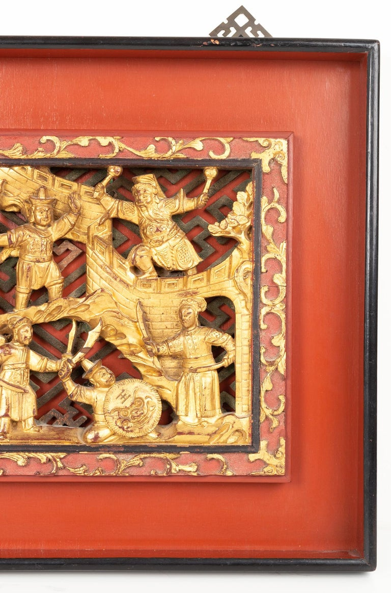 Pair of Chinese Gold Gilded Carved Wood Wall Panels, China, C.1920 In Good Condition For Sale In London, GB