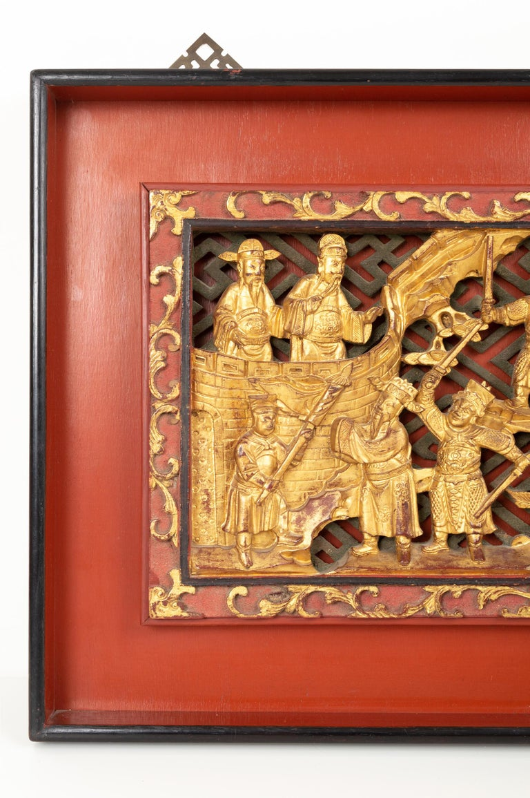 20th Century Pair of Chinese Gold Gilded Carved Wood Wall Panels, China, C.1920 For Sale