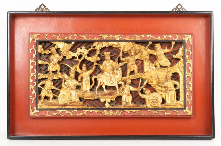 Giltwood Pair of Chinese Gold Gilded Carved Wood Wall Panels, China, C.1920 For Sale