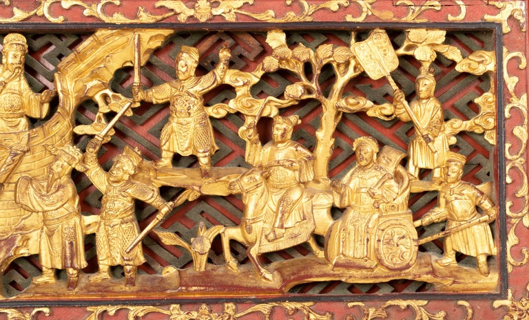 Pair of Chinese Gold Gilded Carved Wood Wall Panels, China, C.1920 For Sale 1