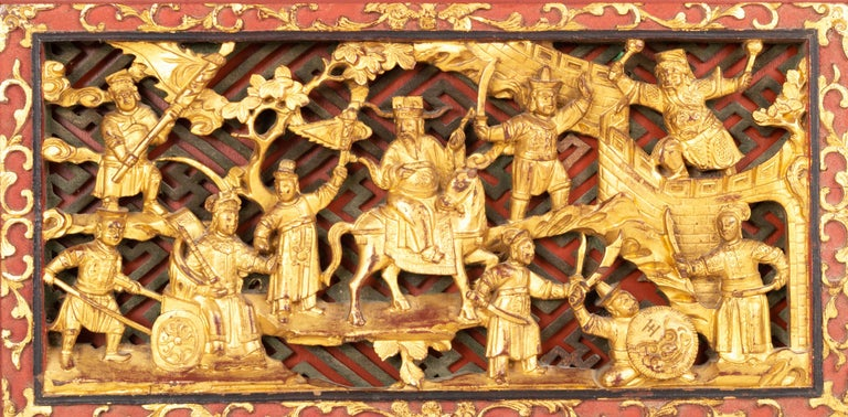 Pair of Chinese Gold Gilded Carved Wood Wall Panels, China, C.1920 For Sale 2