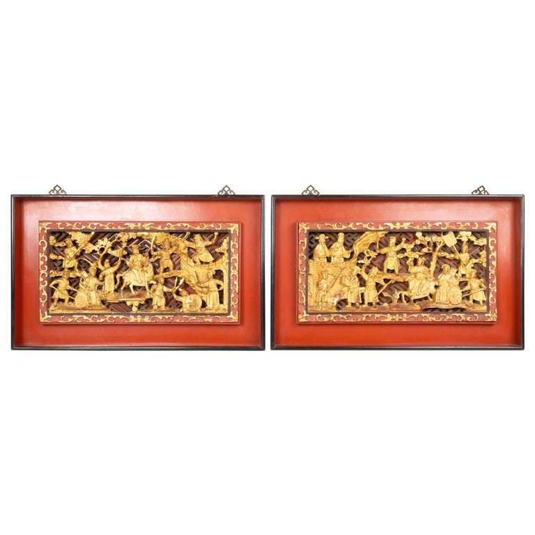 Pair of Chinese Gold Gilded Carved Wood Wall Panels, China, C.1920 For Sale