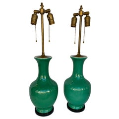 Pair of Chinese Green Bottleneck Lamps
