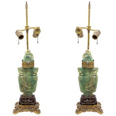 Pair of Chinese Green Hardstone Lamps