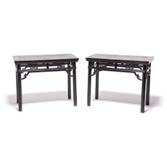 Pair of Chinese Half Tables with Wrap-Around Stretchers