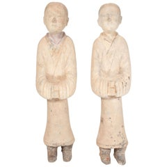 Pair of Chinese Han Dynasty Style Terracotta Attendant Figurines