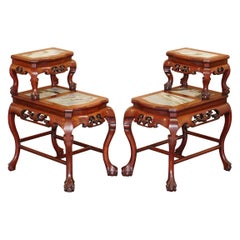 Pair of Chinese Hand Carved Hardwood Marble Side Tables with Claw and Ball Feet
