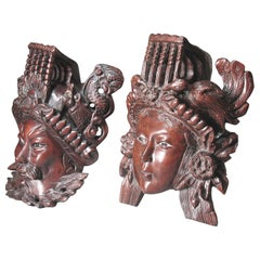 A Pair of Chinese Hand Carved Rosewood Masks of Daoist Deities