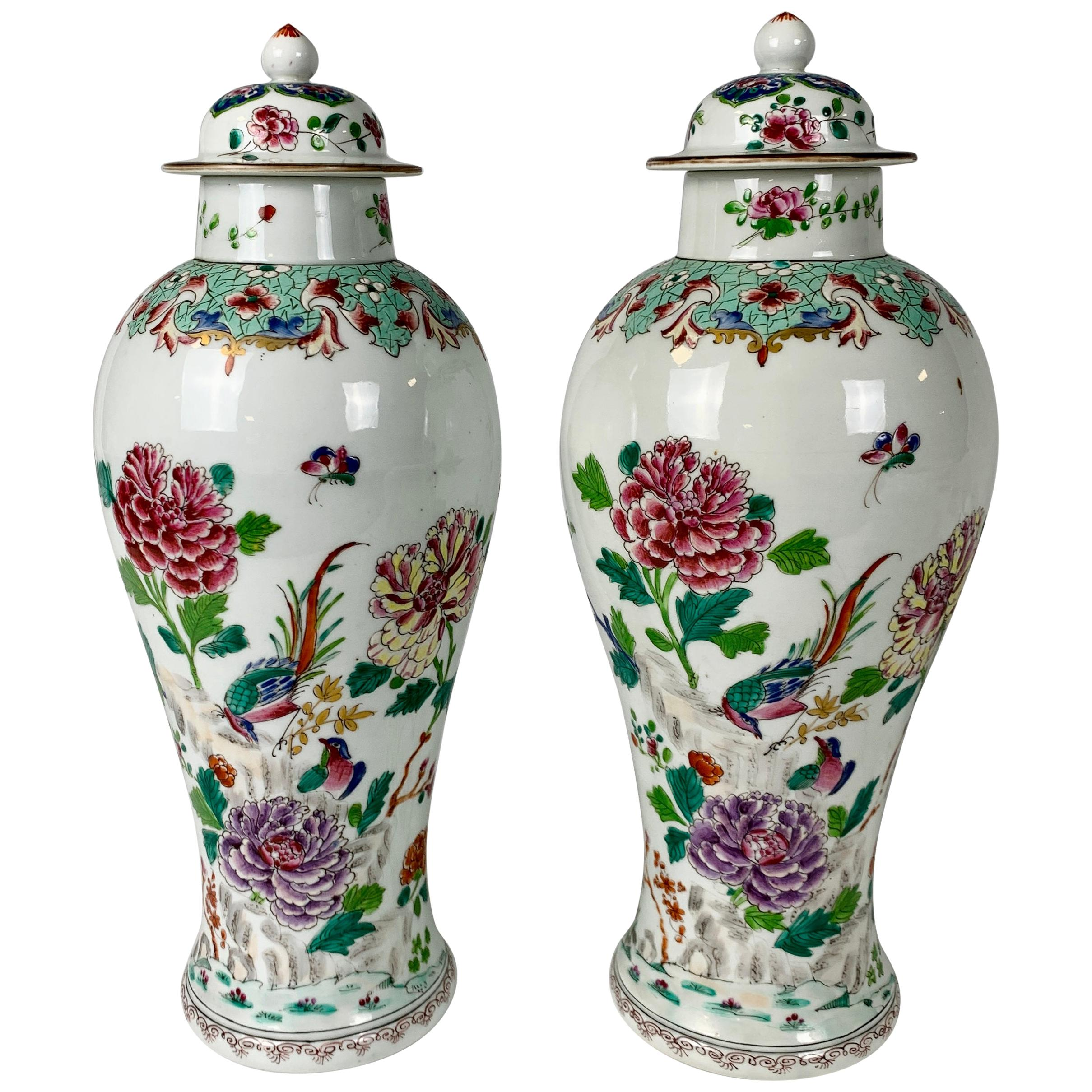 Pair of Chinese Hand-Painted Porcelain Mantle Vases in the Famille Rose Palette