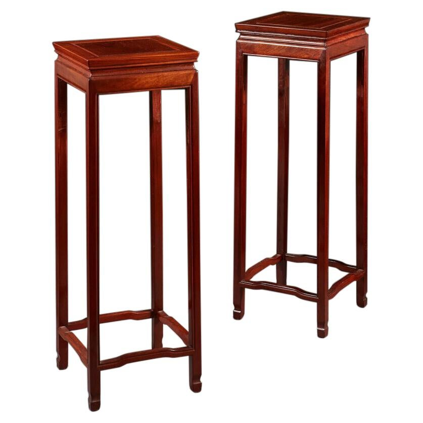 Pair of Chinese Hardwood Pedestal Tables