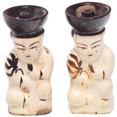 Pair of Chinese Ho Ho Boy Oil Lamps, circa 1900