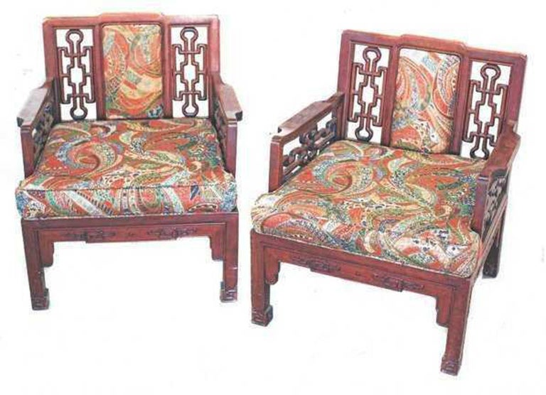 Pair of Chinese Hong-Mu Armchairs In Good Condition For Sale In Palm Beach, FL