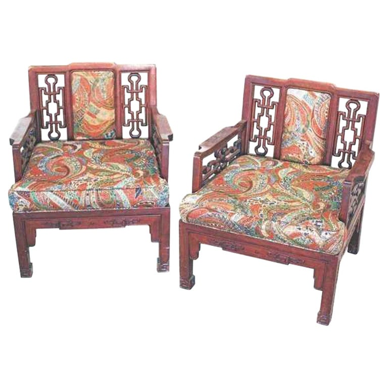 Pair of Chinese Hong-Mu Armchairs For Sale