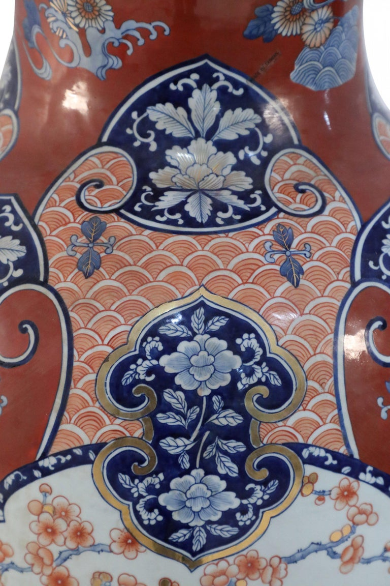 Pair of Chinese Imari-Style Monumental Lidded Porcelain Urns For Sale 1