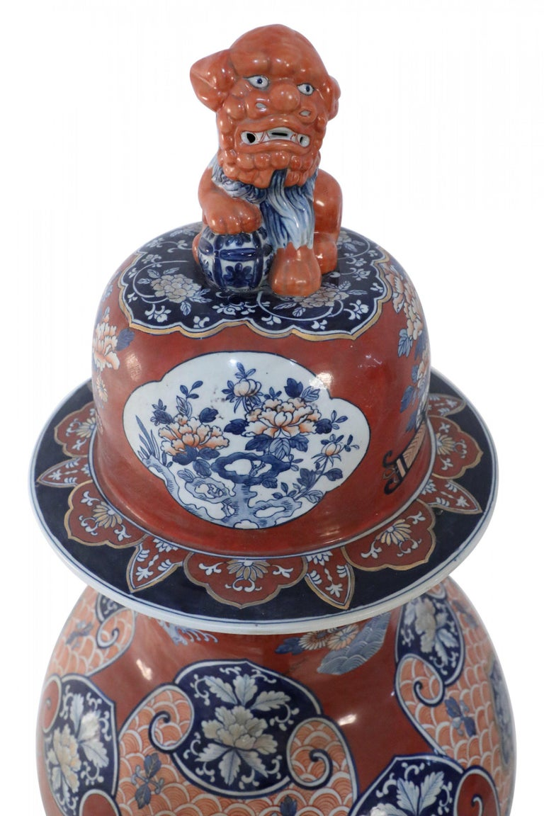 Pair of Chinese Imari-Style Monumental Lidded Porcelain Urns For Sale 2