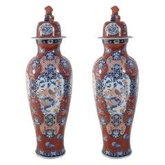 Pair of Chinese Imari-Style Monumental Lidded Porcelain Urns