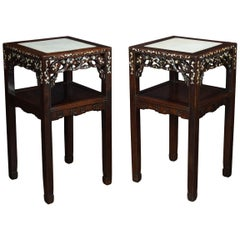 Pair of Chinese Inlaid Urn Stands