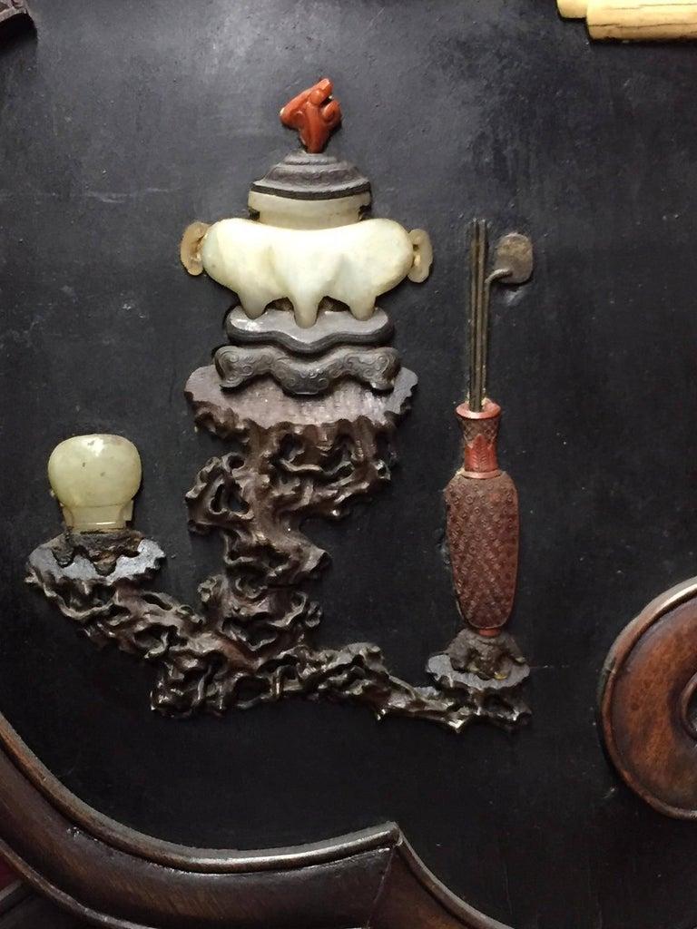 Pair Of Chinese Jade Cinnabar And Gemstone Inlaid Mirrors