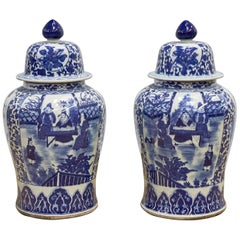 Pair of Chinese Kangxi Style Blue and White Porcelain Vases
