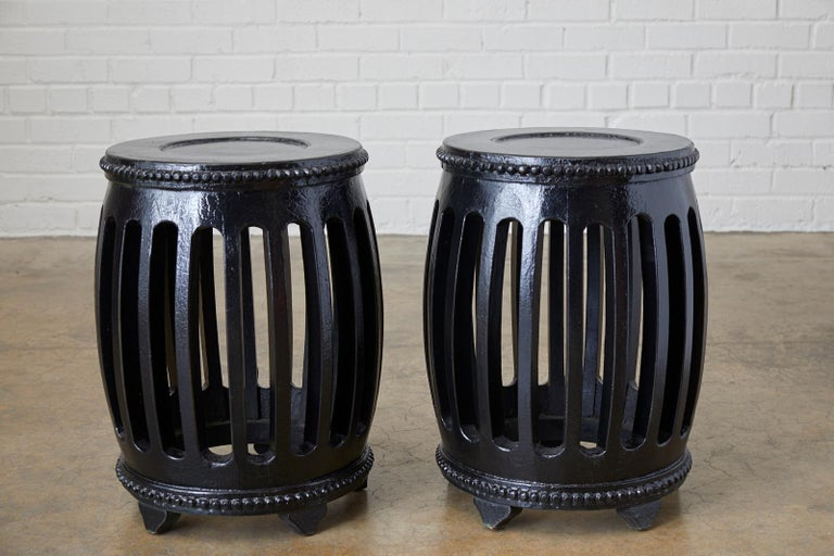 Chinese Export Pair of Chinese Lacquered Garden Stools or Drink Tables For Sale