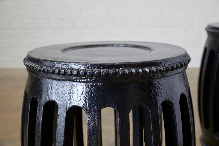 Pair of Chinese Lacquered Garden Stools or Drink Tables In Good Condition For Sale In Oakland, CA