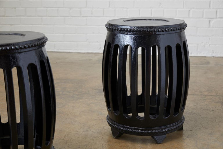 Pair of Chinese Lacquered Garden Stools or Drink Tables For Sale 2