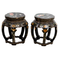 Pair of Chinese Lacquered Stools