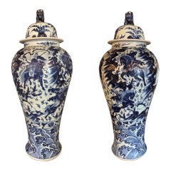 Pair of Chinese Large Scale Blue and White Lidded Vases