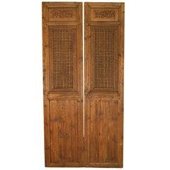 Pair of Chinese Lattice Paneled Doors