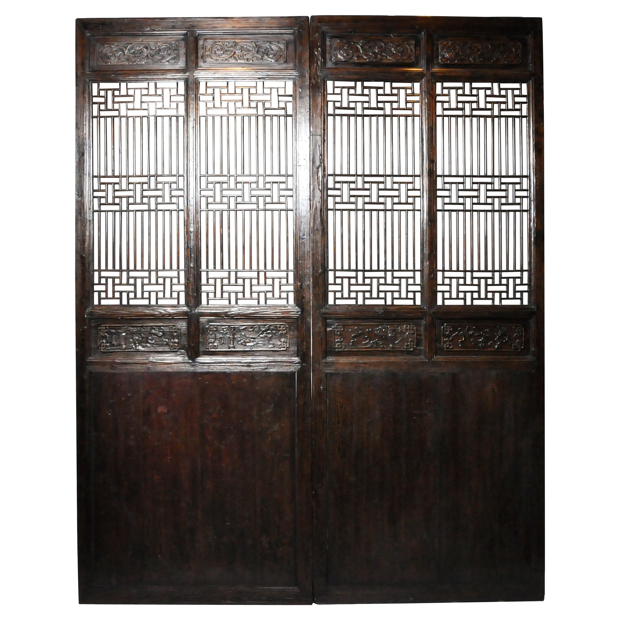 Pair of Chinese Lattice Panels