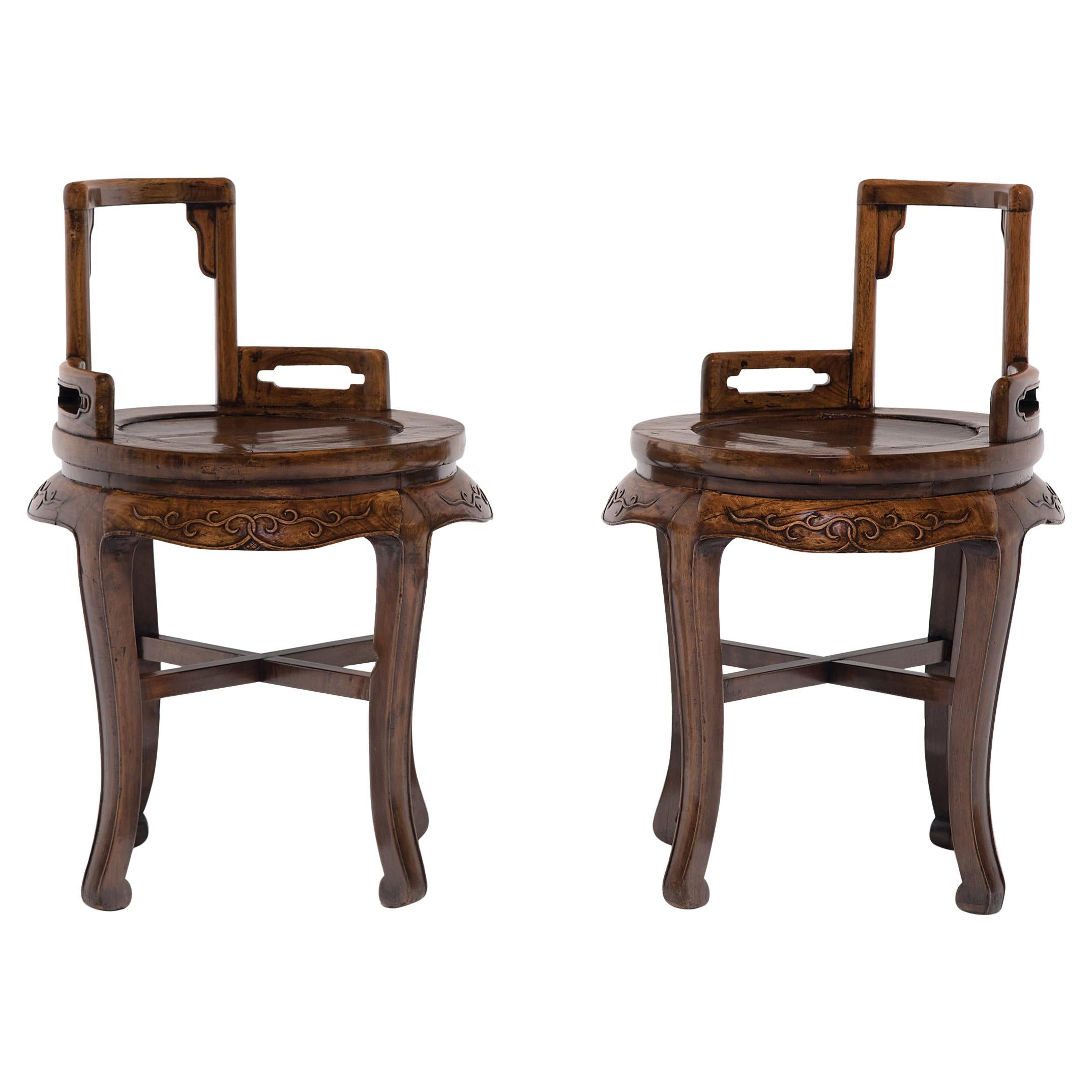Pair of Chinese Low Back Ladies' Chairs