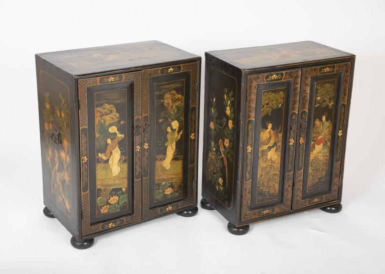 Chinese Export Pair of Chinese Low Cabinets For Sale