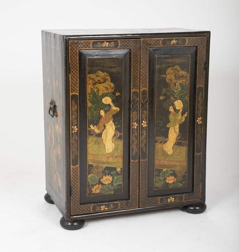 Wood Pair of Chinese Low Cabinets For Sale