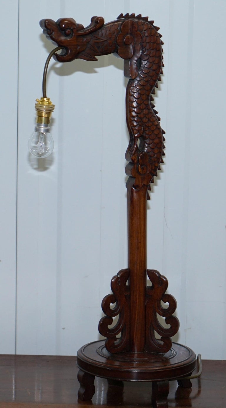 Pair of Chinese Mahogany Dragon 1920s Hand-Carved Wood Table Lamps Part of Set For Sale 8