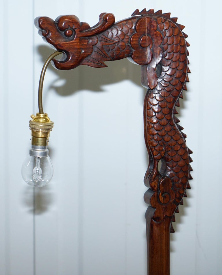 Pair of Chinese Mahogany Dragon 1920s Hand-Carved Wood Table Lamps Part of Set For Sale 9