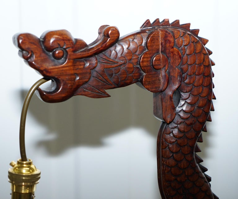 Pair of Chinese Mahogany Dragon 1920s Hand-Carved Wood Table Lamps Part of Set For Sale 10