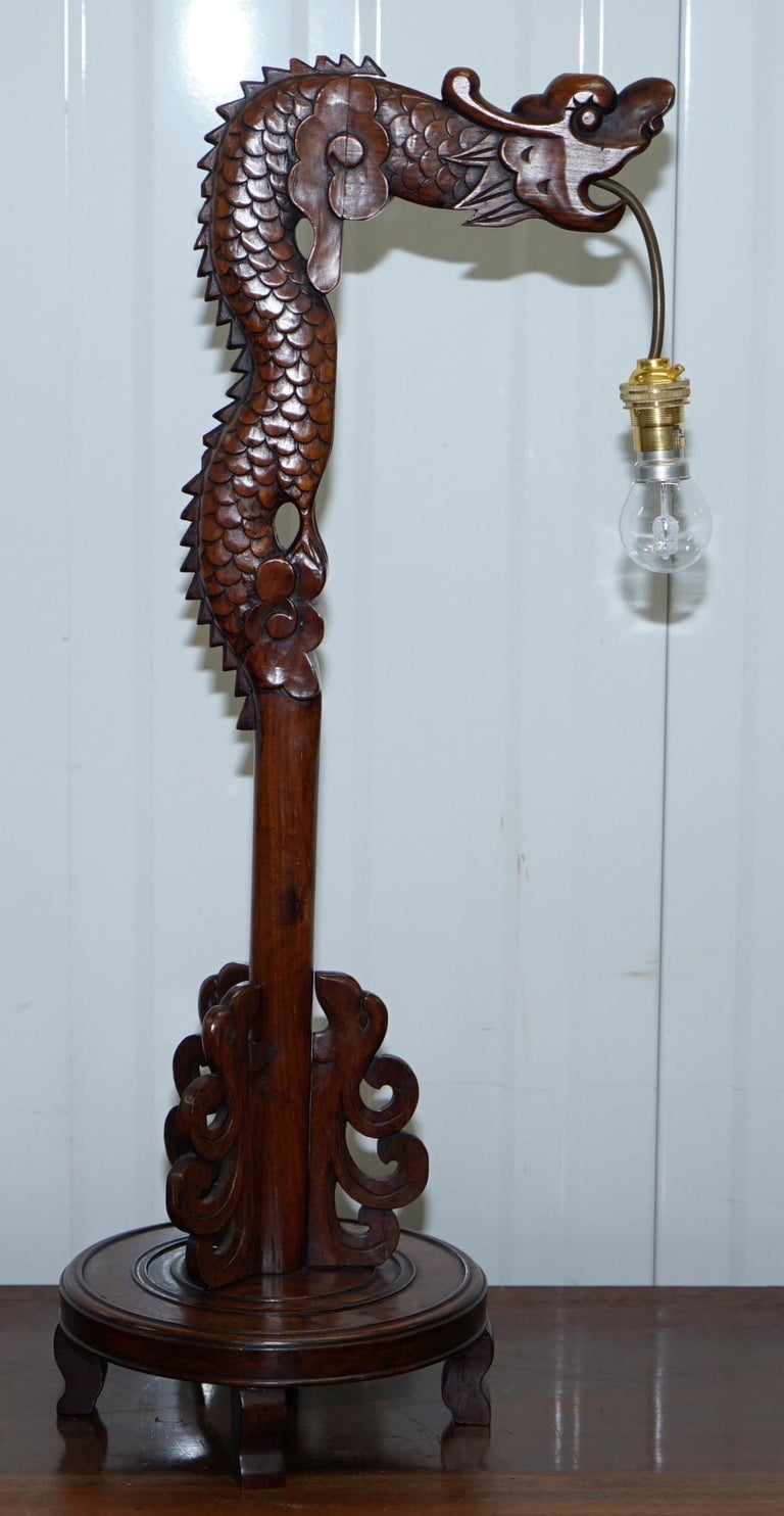 Pair of Chinese Mahogany Dragon 1920s Hand-Carved Wood Table Lamps Part of Set For Sale 13