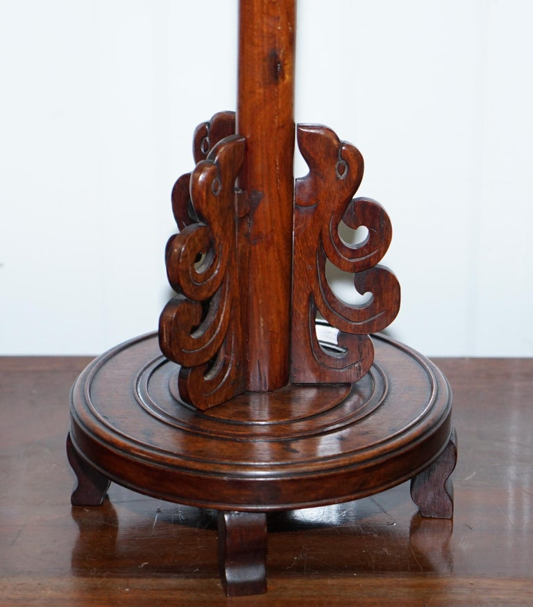 Pair of Chinese Mahogany Dragon 1920s Hand-Carved Wood Table Lamps Part of Set For Sale 14