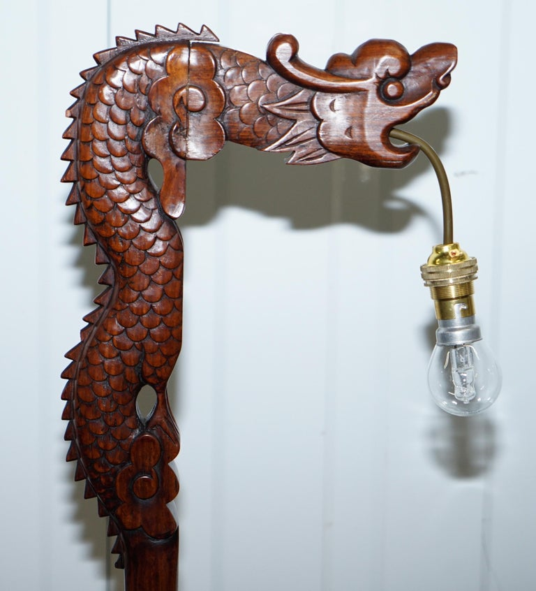 20th Century Pair of Chinese Mahogany Dragon 1920s Hand-Carved Wood Table Lamps Part of Set For Sale