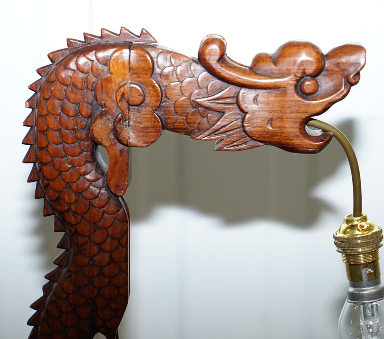 Pair of Chinese Mahogany Dragon 1920s Hand-Carved Wood Table Lamps Part of Set For Sale 1