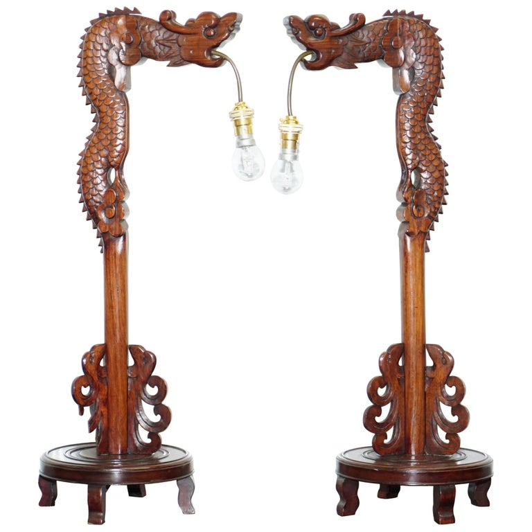 Pair of Chinese Mahogany Dragon 1920s Hand-Carved Wood Table Lamps Part of Set For Sale