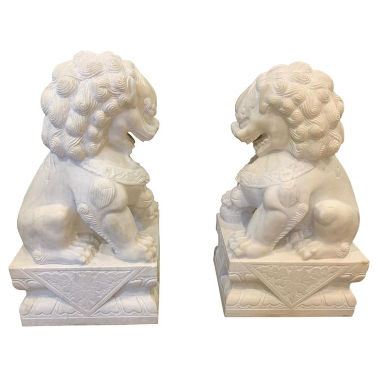 Pair of Chinese Marble Foo Dogs For Sale